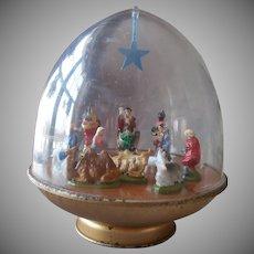 Vintage Ohio Art Christmas Musical Nativity Dome Rotates Music Box Wind Up