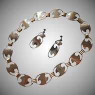1940s Modernist Set Necklace Earrings Vintage TLC