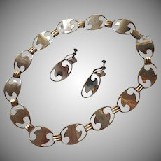 1940s Modernist Set Necklace Earrings Vintage TLC