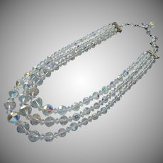 Vintage Crystal Necklace 3 Strand AB Unusual Banded Cut