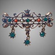 Vintage Pin Victorian Revival 1960s Faux Coral Faux Pearl Faux Emerald