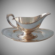 Gravy Sauce Boat On Stand Tray Liner Vintage Silver Plated