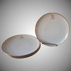 Monogram H Antique China Plates 4 Salad Large Dessert