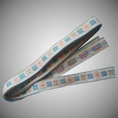 Vintage Ribbon Braid Cotton Woven Pink Blue White