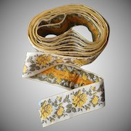 Vintage Ribbon Wide Cotton Brocade Woven Luggage Rack Strapping