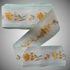 Vintage Ribbon Cotton Brocade Wide Aqua Yellow Roses White