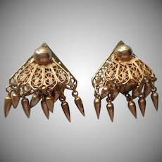 Vintage Earrings Fan Clips Unusual Front And Back Clasp Dangles