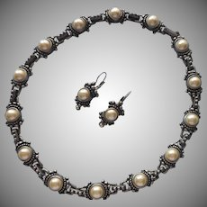 Faux Pearl Pewter Finish Necklace Pierced Earrings Mid 90s