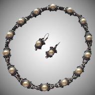 Faux Pearl Pewter Finish Neclace Pierced Earrings Mid 90s