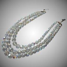 Vintage Necklace AB Cut Crystal Beads 3 Strand TLC