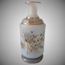 Antique Satin Finish Bristol Glass Bottle Hand Painted Mist Color Gold
