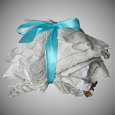 Vintage Linen Cotton Embroidery Lace Sewing Scraps