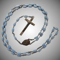 Vintage Glass Beads On Wire Rosary TLC Baby Blue