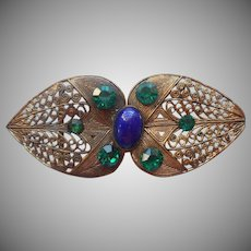 Czech Filigree Buckle Vintage 1920s to 1930s Blue Green Glass Stones Czechoslovakia