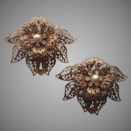 Dress Clips Vintage Filigree Flowers Leaves Faux Pearls