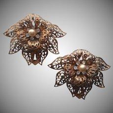 Dress Clips Vintage Filigree Flowers Leaves Faux Pearls