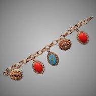 1960s Bracelet Vintage Faux Coral Faux Turquoise Charm Chunky Charms