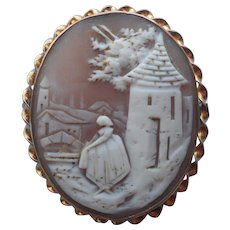 Antique Cameo Pin Pendant Scenic w Woman At Well House - Red Tag Sale Item