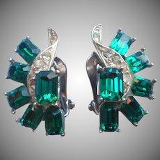 Vintage Earrings Faux Emerald Glass Stones Wiesner Signed Rhinestone Clip