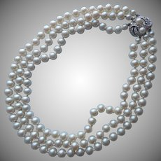 Vintage Richelieu Faux Pearl Pearls Necklace Ornate Rhinestone Clasp Triple Strand