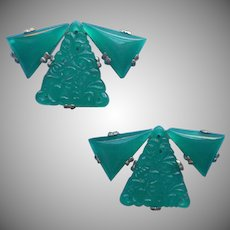 1930s Dress Ornaments Faux Chrysoprase Vintage Molded Glass Art Deco Sew On