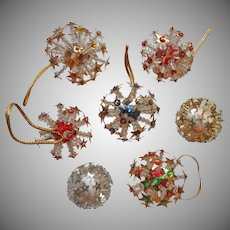 Vintage Christmas Tree Ornaments Bead Sequin Starburst Sputnik