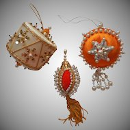 Vintage Christmas Tree Ornaments Bead Sequin Orange White Gold