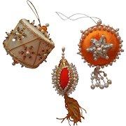 Vintage Christmas Tree Ornaments Bead Sequin Orange White Gold