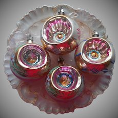 Vintage Glass Christmas Tree Ornaments Indents 4 Pink Gold 2.5 Inch