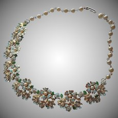 Vintage Necklace Painted Blue Flowers Faux Pearls Rhinestones