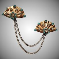 1940s Sterling Silver Vermeil Swagged Chained Pins Pin Fan Aqua Stones