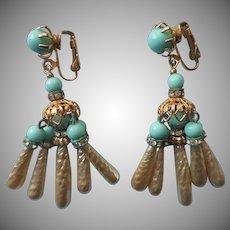 Vintage Kramer Chandelier Earrings Faux Baroque Pearls Turquoise Blue Glass TLC