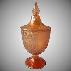 ca 1930 Jeannette Glass Candy Jar Urn Marigold Carnival Crackle