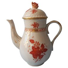 Herend Chinese Bouquet Rust Demitasse Coffee Pot Vintage