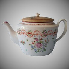 18th Century Chinese Export Lowestoft Teapot Wonderful Make-Do Lid Antique