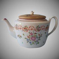 18th Century Chinese Export Lowestoft Teapot Wonderful Make-Do Lid Antique