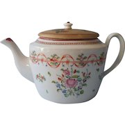 18th Century Chinese Export Teapot With Wonderful Make-Do Lid Antique