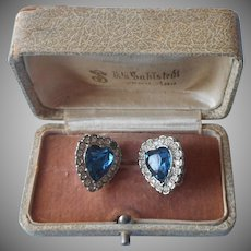 1960s Clip Earrings Blue Glass Hearts Rhinestones Heart Silver Tone Metal
