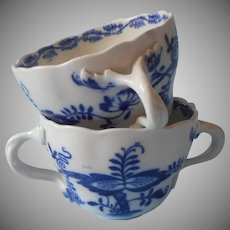 Cauldon Blue Onion Bouillon Cups Antique China Two Handles
