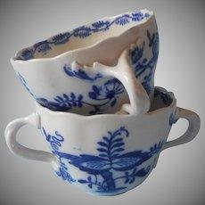 Cauldon Blue Onion Bouillon Cups Antique China Two Handles