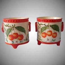 Pair Erphila Czechoslovakia Jars Jar Pots Pot Ornage Cherries Hand Painted China