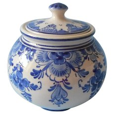 Royal Delft Jar Sugar Bowl Holland Vintage Hand Painted Blue Cream