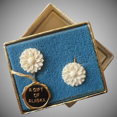 Vintage Earrings Alaska Souvenir Carved Bone Flowers Clip