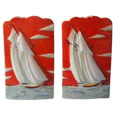 Wall Pockets Pair Art Deco Japan Sailboats Vintage Vivid Hand Painted China