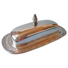 Park Lane Pattern Butter Dish Vintage Silver Plated Glass Liner Oneida