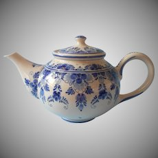 Royal Delft Holland Teapot Hand painted Blue Cream China Pottery