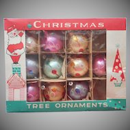 Vintage Glass Christmas Tree Ornaments Poland 9 Original Box