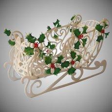 1960s Plastic Sleigh Christmas Decoration Vintage Holly Treats Basket