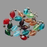 Vintage Necklace Colored Faceted Glass Beads Rich Colors India