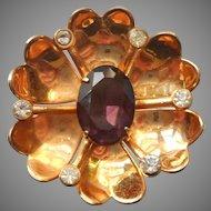 1940s Vermeil Pin Flower Form Purple Glass Stone Faux Amethyst